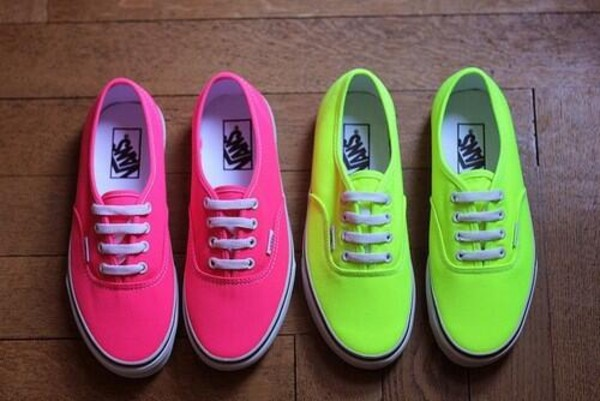 shoes vans neon pink girl women yellow funny pretty lovely colorful neon rock van's yellow and pink pink and yellow van's