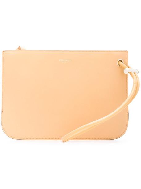 women clutch leather yellow orange bag