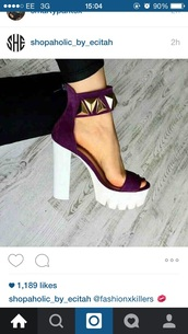 shoes,chunky heels,velvet,platform pumps,platform high heels,platform shoes,heels,purple heels,studed,white,cleated sole platforms,purple,gold,love,need ,high heel sandals,purple shoes,suede block heels,high heels,summer,chucky heels,pumps,sandal heels