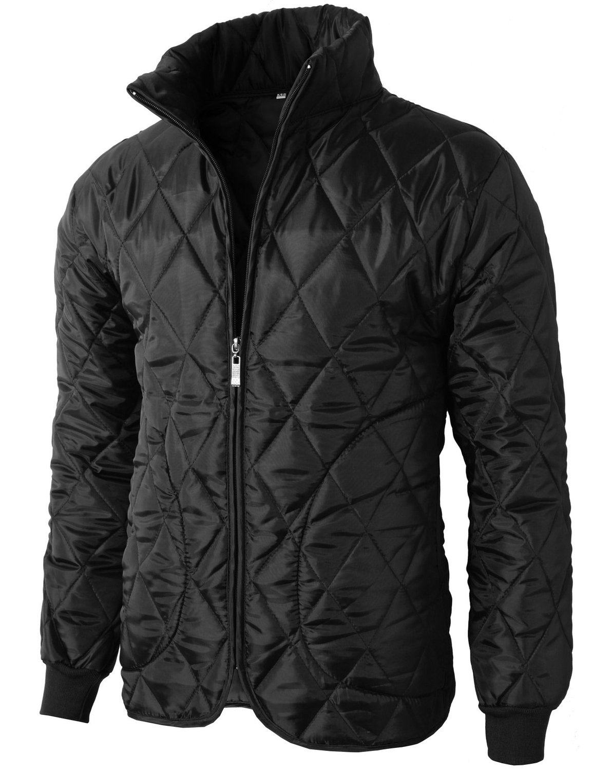 Neck slim fit lightweight quilted padded jacket with pocket at amazon men's clothing store: