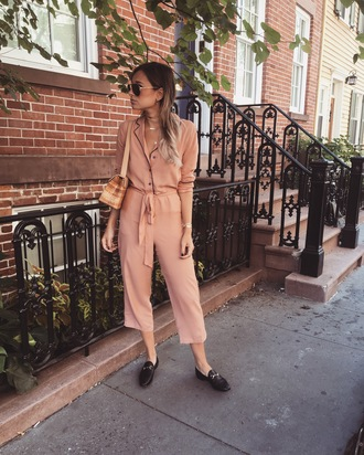 we wore what blogger jumpsuit shoes pink light pink salmon flats aviator sunglasses shoulder bag long sleeves gucci asos cropped jumpsuit nude jumpsuit work outfits office outfits nude bag gucci bag loafers black loafers pajama style
