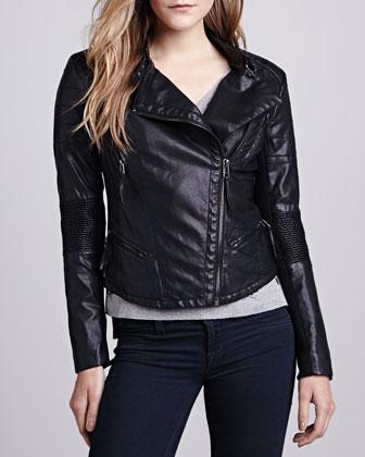 Blank Faux-Leather Corrugated-Trim Moto Jacket - Neiman Marcus