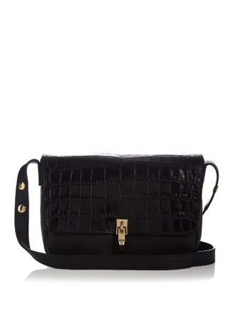 bag shoulder bag leather crocodile black