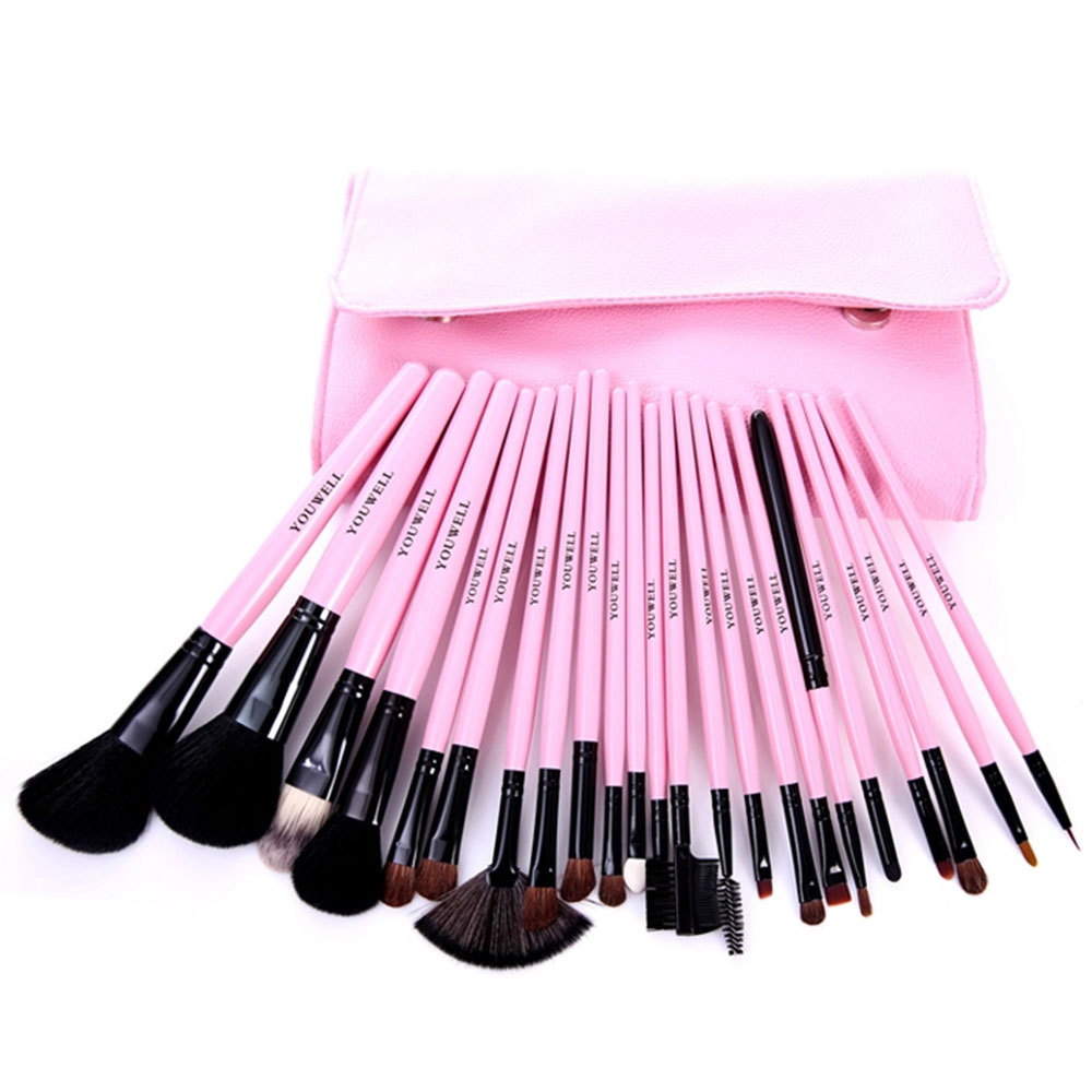 [grxjy5140024]23 pcs makeup comestic brushes set kit with pouch in pink / thevintagestudio