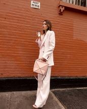 jacket,blazer,pink blazer,pants,pink pants,wide-leg pants,sandals,handbag,earrings