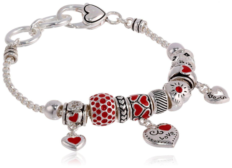 Amazon.com: Heart Charm Bracelet, 7.5