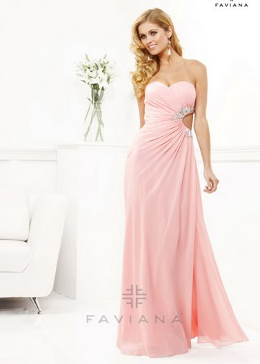 Strapless Pink Pleated Sexy Beaded Cutout Side Long Chiffon Dress [Faviana 7122 Pink] - $175.00 : Prom Dresses 2014 Sale, 70% off Dresses for Prom