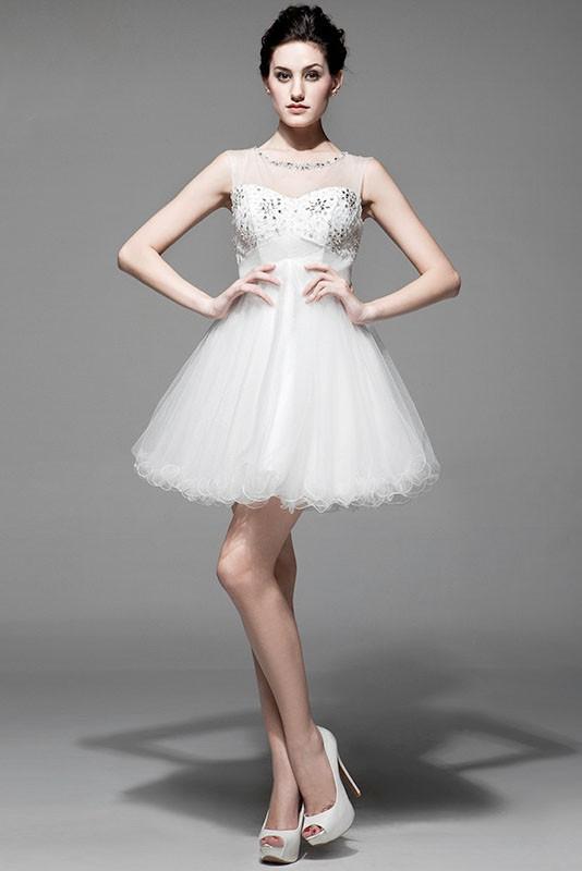 Blanc keyhole dos mode de bal organza col ras du cou longueur mi cuisse robe de mariee dww0966