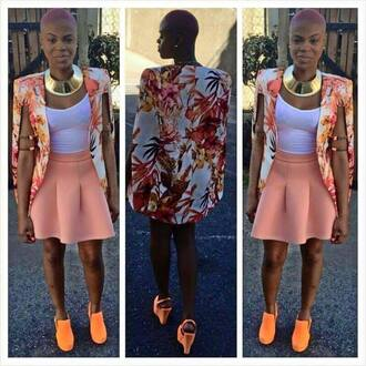 jacket floral cape blazer cape blazer high heels tank top necklace skater skirt arm cuff floral blazer