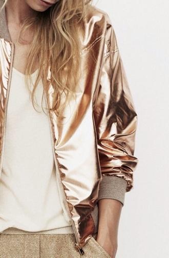 jacket metallic jacket athleisure gold leather jacket