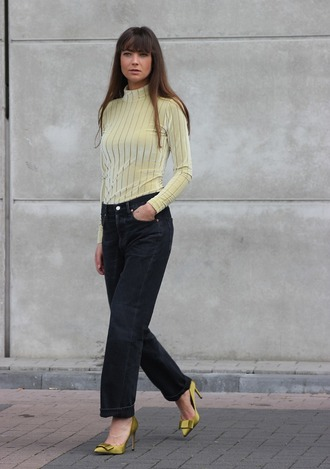 top tumblr yellow yellow top denim jeans black jeans pumps bow heels