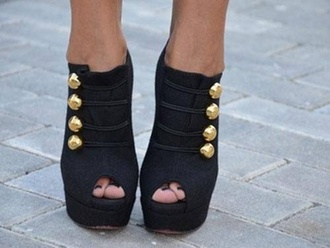 shoes gold buttons black high heels booties