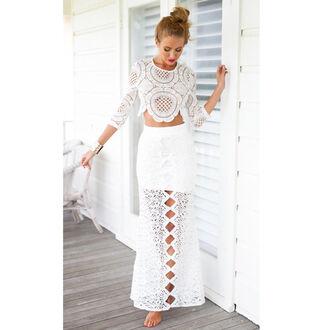 skirt white white lace lace long skirt white summer skirt summer
