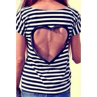 t-shirt heart stripes cut-out love fashion trendy casual teenagers shirt top cute rose wholesale-jan