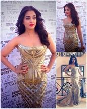 dress,sexy,gold,gown,ashwarya rai