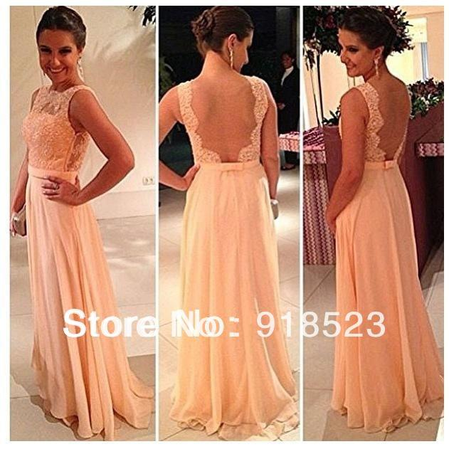 Real vestido de dama de honra Free Shipping New Fashion Best Selling Chiffon Pretty Nude Back Lace Peach Long Bridesmaid Dress-in Bridesmaid Dresses from Apparel & Accessories on Aliexpress.com