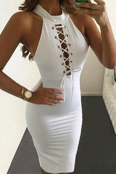 lace up mock neck sleeveless bodycon dress white bodycon