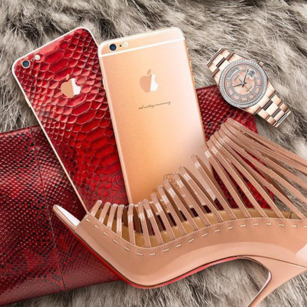 bag iphone case croco reptile red nude high heels