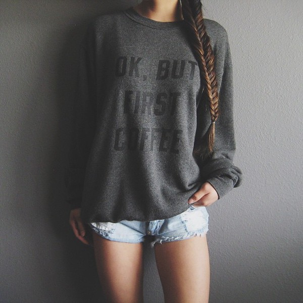 sweater style fashion coffee quote on it comfy