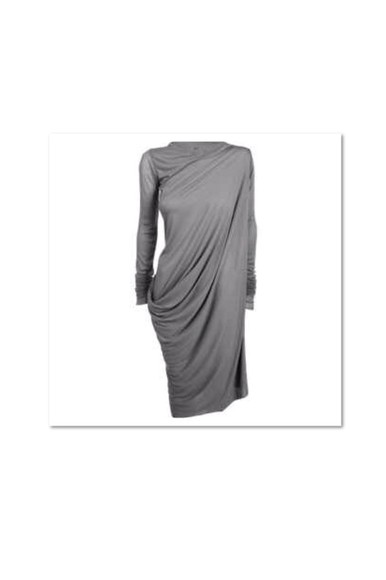 long sleeves long sleeve dress rick owens drape dress gray dress grey long dress prom fancy drape rickowens