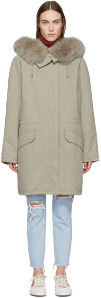 Army By Yves Salomon parka long fur classic grey coat