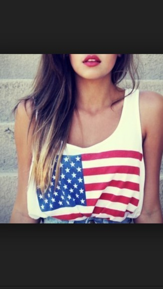 american flag tank top pretty white