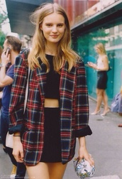 coat,indie,tumblr,cool,tumblr girl,checkered,check,important,trendy,fashion,jacket,plaid,blazer,red,red jacket,red blazer,plaid blazer,blonde hair,90s style,skirt,shirt,red and blue flannel