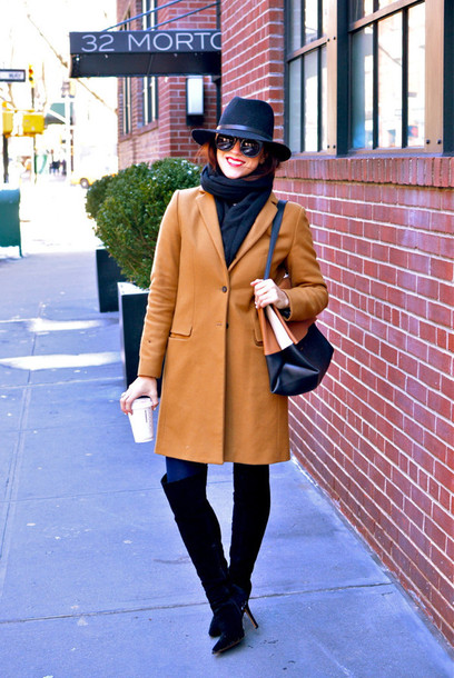 my style pill blogger hat rust coat
