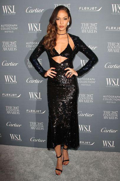 dress sequins sequin dress black dress prom dress gown sandals joan smalls plunge dress plunge v neck bra bralette model off-duty