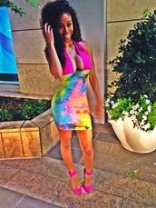 bad girls club,party dress,colorful,tie dye,colorblock,rainbow,style,miami,clubwear,dress
