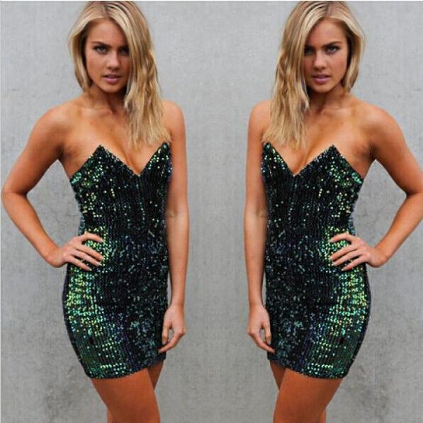 Hot v strapless sequins shining dress