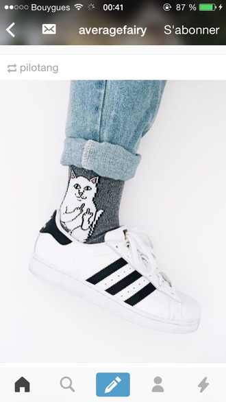 socks cats cat eye fuck off middle finger
