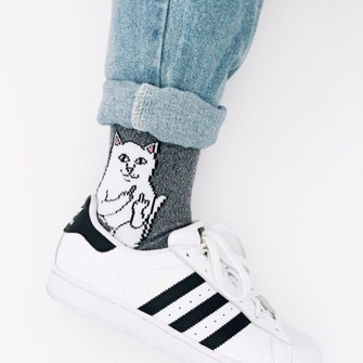 middle finger fuck off socks cats cat eye the middle