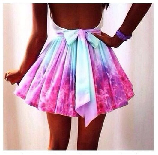New Ladies Celebrity Unique Bow Skater TOWIE Tutu Skirt Galaxy Rainbow Size 12