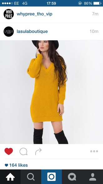 sweater jumper jumper dress yellow mustard long mustard sweater