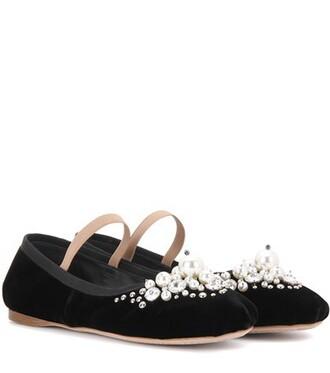 embellished velvet black shoes