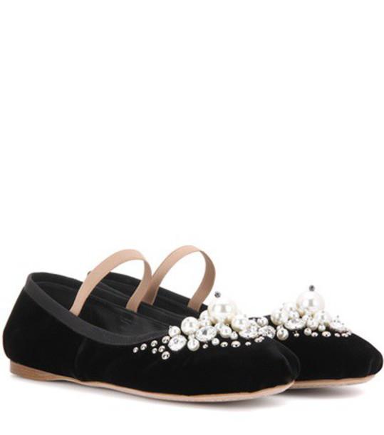 Miu Miu embellished velvet black shoes