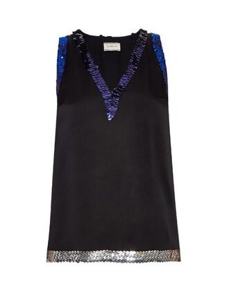 top embellished satin black