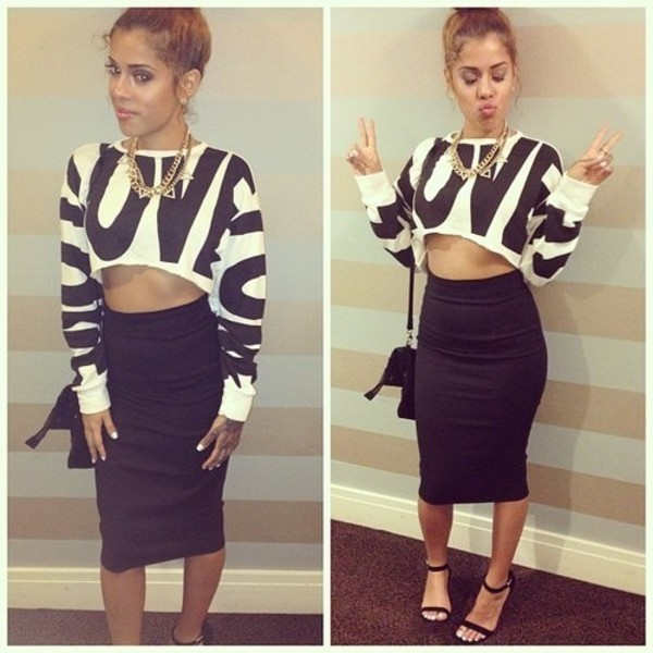 shirt long sleeves sweater crop tops white love girl long sleeves