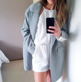 coat wool grey white oversized blazer white jumpsuit jumpsuit blue/grey white/grey sleeves