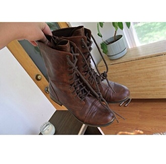 shoes combat boots brown boots combat cute