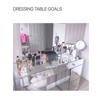 home accessory bag table make-up ikea mirror lipstick lip liner parfume foundation brush makeup brushes pink girly cute dressing table party make up lip gloss chanel victoria's secret