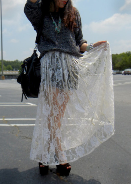 skirt maxi skirt lace skirt white lace skirt white tumblr knit sweater lace