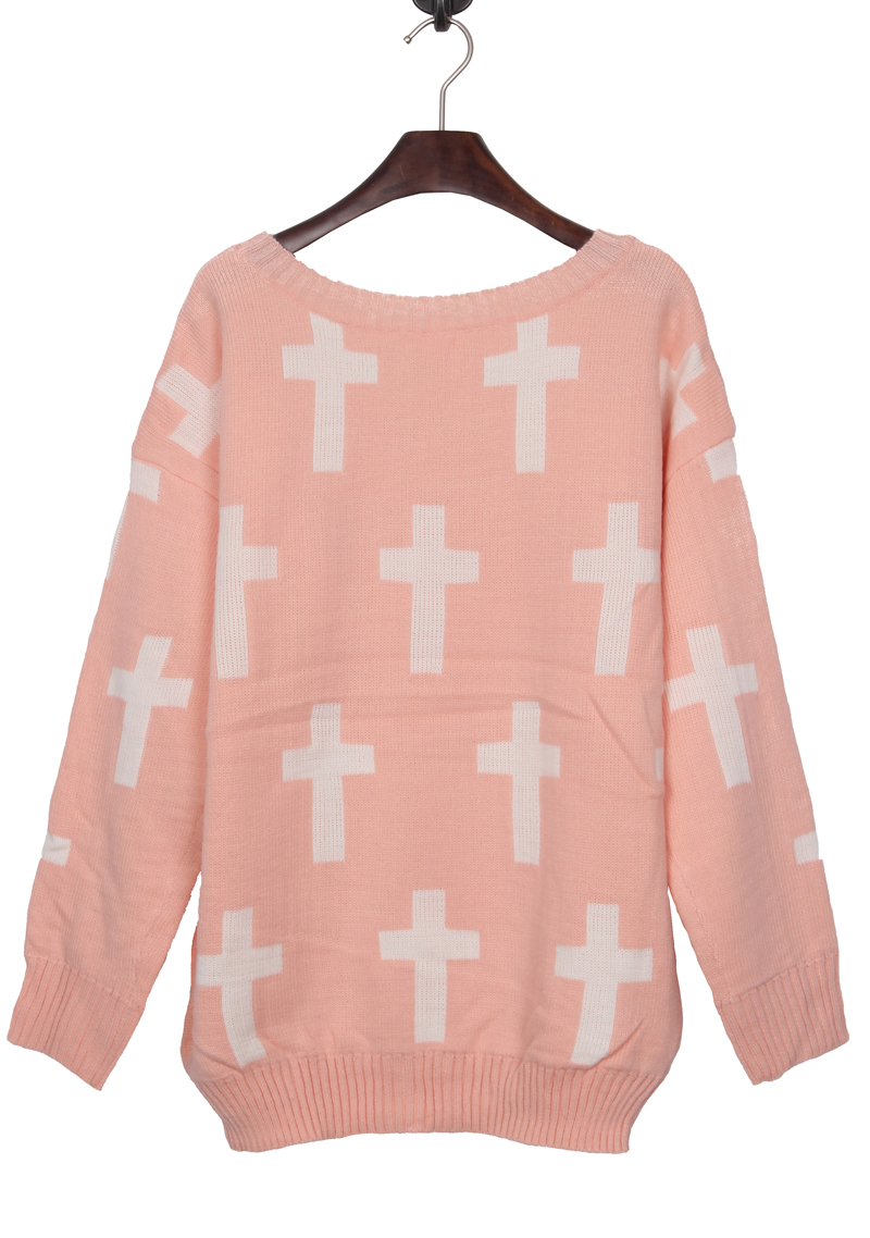 Pink Round Neck and White Cross Pattern Jumper Sweater - Sheinside.com