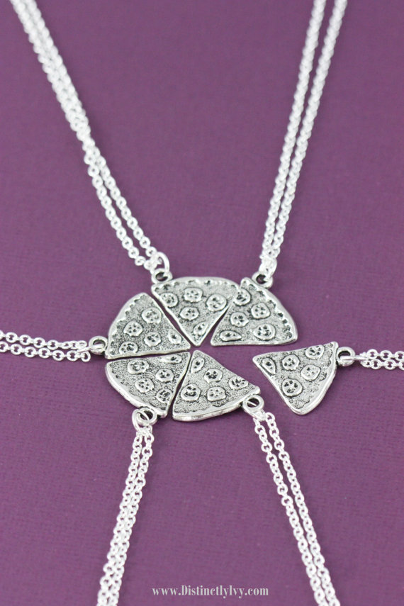 SALE - Pizza Necklaces - Friendship Necklace - Best Friends Jewelry - Family - Sorority Sisters - BFF - Pizza Slice - Silver Pizza