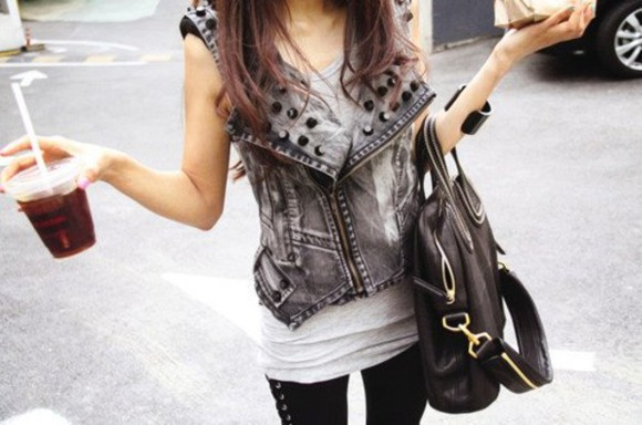 jacket rock bag style clothes sexy denim jacket
