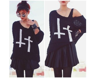 sweater jumper off the shoulder cross black knitwear