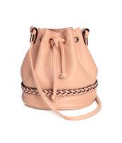bag,mini bag,bucket bag,blush pink,drawstring