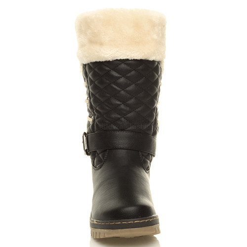 WOMENS LADIES GIRLS FLAT LOW HEEL LACE FUR LINED SNOW WINTER CALF BOOTS SIZE | Amazing Shoes UK