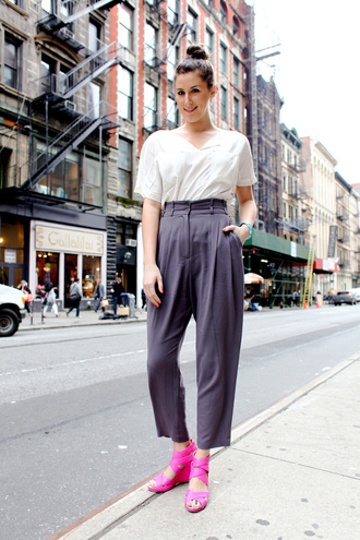 shoes sandals pink sandals pants grey pants wide-leg pants top white top office outfits